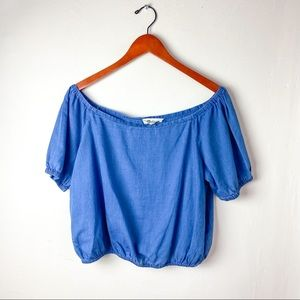 Madewell Off The Shoulder Chambray Short Top M